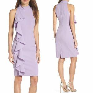 Eliza J Lavender Ruffle Sheath Cocktail Dress